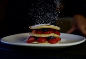 Pumcake with fruits
