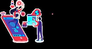 Icona telefono cellulare, ragazza con laptop e ragazzo che cerca su internet